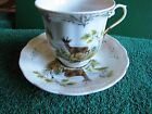 ANTIQUE Factory K & M hand made Czech republic Cup and Saucer Deer Painted