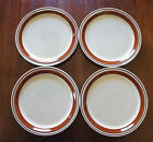 Yamaka Chateau Sienna Brown Stoneware DINNER PLATES Set of 4-Hand Painted-Japan