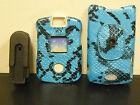 Motorola V3 Razr Cover Hard Faceplate BLUE SNAKE WITH DETACHABLE BELT CLIP