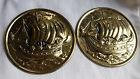 VINTAGE SET OF TWO BRASS WALL HANGING SET MADE IN ENGLAND PLATES
