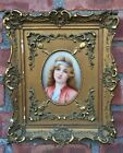 Beautiful Antique Porcelain Berlin Plaque. Portrait Of A Girl. Signed Wagner.