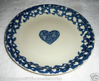 PLATE~TIENSHAN Folk Craft~Hearts~Luncheon~7&5/8 Inches~Blue Sponge~FREE SHIP