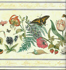 GARDEN BUGS AND FLOWERS ON PALE YELLOW WALLPAPER BORDER