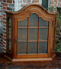Antique French Oak Bonnet Top Wall Shelf Vitrine Curio Glass Display Cabinet #2