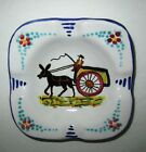 Italian DERUTA MAIOLICHE Ashtray Pottery Ceramic Donkey Cart Design Pic Vintage