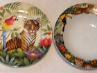 ❤SAKURA JUNGLE ANIMALS SALAD PLATE SOUP BOWL BY STEPHANIE STOUFFER TIGER DESIGN❤