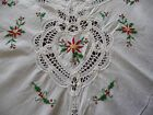 Tablecloth Vintage Christmas Poinsettia Battenburg Lace White Red 62 x 98