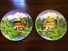 "German Majolica Hanging Wall Plates! Large 14.5"" Diameter! Hand-Painted! Lovely!"