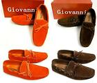 Mens GIOVANNI orange brown faux suede shoes driving moccasins style M01 3