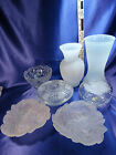 Lot of 7 Frosted Glass Vase Candy Dish Studio Silversmith Rose Leaves Berry Set