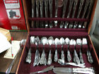 VINTAGE 100 PIECE ROGERS & CO STAINLESS FLATWARE SET IN CASE