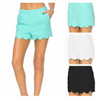 USA Women Solid Scalloped Hem Dressy Shorts Casual Trouser Pants 100% Polyester