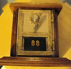 1956  VINTAGE US POST OFFICE MAIL BOX DOOR LETTER COMBINATION BANK WOOD / BRASS