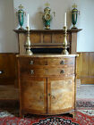 PRETTY ANTIQUE BOW FRONT LIGHT BURR WALNUT CABINET CHEST OF CUPBOARD DRAWERS