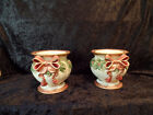 Pair of Fitz and Floyd Christmas Holly with Large Red Bow Large Candle Holders