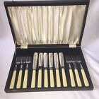 Vintage Stainless Chromium Plate On Nickel Silver Forks And Knifs Fish Set