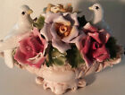 VINTAGE- CAPODIMONTE PORCELAIN  ROSE FLOWER  VASE  WEDDING CENTERPIECE-TWO DOVES