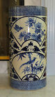 Superb Porcelain Blue & White Hand Painted Umbrella Stand Birds Butterfly Signed