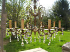 Vintage French Double Pineapple 8 Arm Chandelier 81 Prisms Brass Petal Bobeches