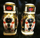 Exceptional Royal Crown Derby Imari Salt & Pepper Shakers 1128 Mint Hard to Find
