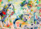 JOAN BAEZ & BOB DYLAN portrait -ORIGINAL watercolor PAINTING-ONE of a KIND! live