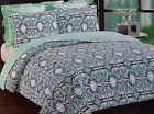 Chelsea Pier Artistic 3 pc King Quilt Set Aqua Teal Blue Navy White NEW