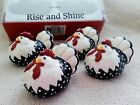 Fitz & Floyd Rise and Shine Knife Rests~Chickens~Hens~Black~White~Red