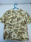 Vintage 50s 60s Rhoda Lee Blouse Short Sleeve Button Scenic Boat Print Size 32