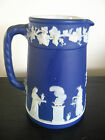 Vintage Royal Blue Jasperware Wedgwood Pitcher Jug Creamer