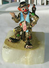 Ron Lee clown sculpture Hobo Joe hitchhiking 24K gold bird suitcase 1983 signed