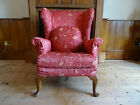 COMFORTABLE ANTIQUE UPHOLSTERED WING ARMCHAIR Inc Cushion & Loose covering