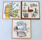 Vtg Wall Art Decor Rako Tile Hand Paint Calibrage Denmark Czechoslovakia 3 Set
