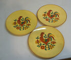 3 Taylor Smith Taylor Reveille Rooster Dinner Plates Red & Oval Serving Bowl