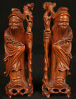 ANTIQUE CHINESE CARVED WOOD PAIR STATUES WISE MEN SCHOLARS QING MING DYNASTY OLD