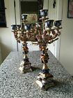 Antique Magnificent Pr Italian MAGANI Porcelain Candelabras Hand Painted Ornate