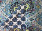 ARTISAN 3pc F/QUEEN Quilt SET Blue Teal Gray Aqua Pink MOROCCAN MEDALLION FLORAL