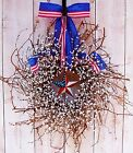 Patriotic Spring Summer July 4 Wreath PATRIOTIC AMERICANA STAR DOOR WREATH DECOR