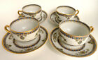 Vintage Haviland Co Limoges Porcelain Teacups and Saucers (set of 4) France