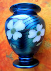 RARE IRIDESCENT BLUE ORIENT & FLUME WHITE DOGWOOD VASE BY CARTER & BRALEY - MINT
