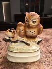 Vintage Music Box Owl Mother & Baby Plus Bird In Snow Towle Porcelain