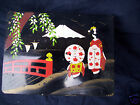 Japan lacquer music box not working nonworking black wood Japanese ladies