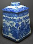 Chinese Blue and White Figural Porcelain Square Ginger Jar ~ 8''
