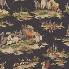 Wild West Black Background by Waverly ~ Drapery Cowboys and Indians Western