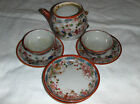 Vintage Collectable Well Loved 1940's Childs China Tea Set white rust blue gold