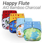 Happy Flute AIO Cloth Diaper Reusable Nappy Bamboo Charcoal Inner Double Gussets