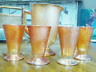 Jeanette Marigold Carnival Crackle Pitcher with 6 Glasses