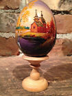 Vintage, 1994, Large Russian Hand Painted Lacquer Wooden Egg - Signed Wood Stand