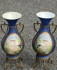 Superb Pair Of 19Th C. Blue Vienna Porcelain Vases In Gilt Ormulo Mounts. Signed