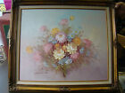 Original Oil Painting by Robert Cox Signed Pastel Flowers Bouquet Framed  291523
