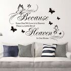 Because Heaven Wall Quote Decals Words Removable Sticker Decor Vinyl Art Mural